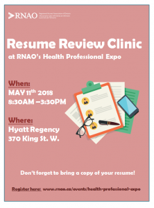 Resume Review Clinic At Rnao S Health Professional Expo
