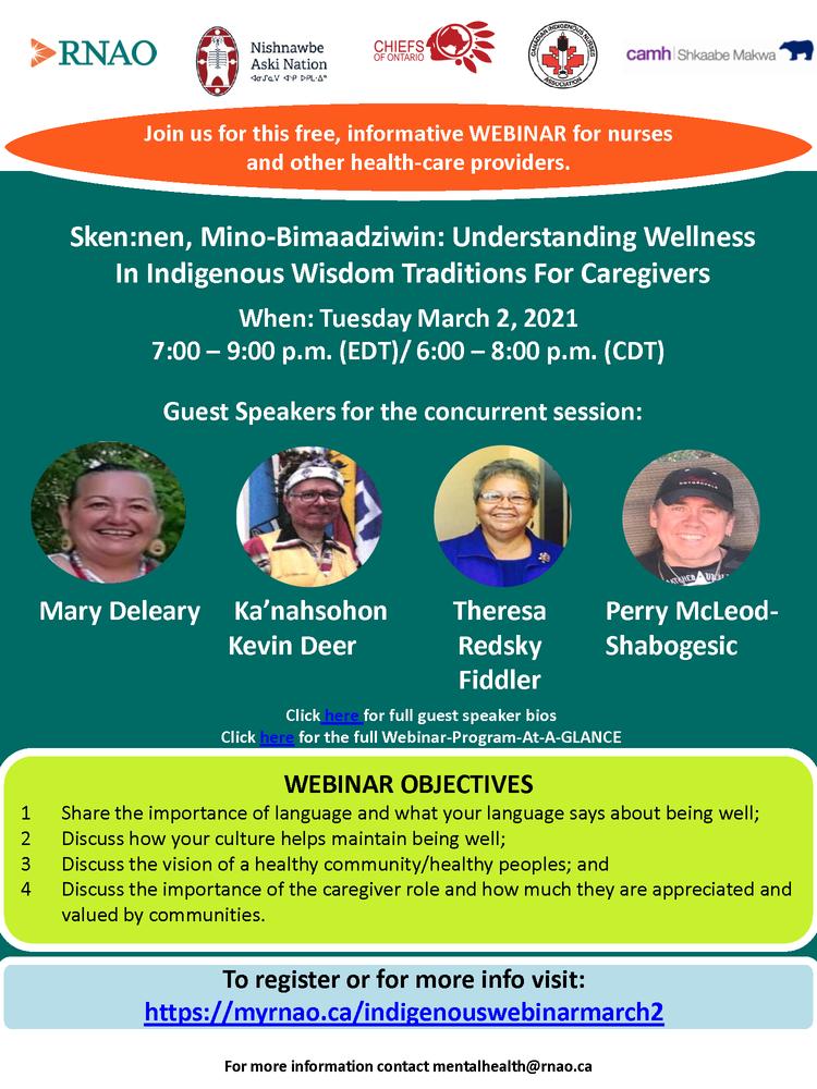 Sken:nen, Mino-Bimaadziwin: Understanding Wellness In Indigenous Wisdom Traditions For Caregivers Webinar