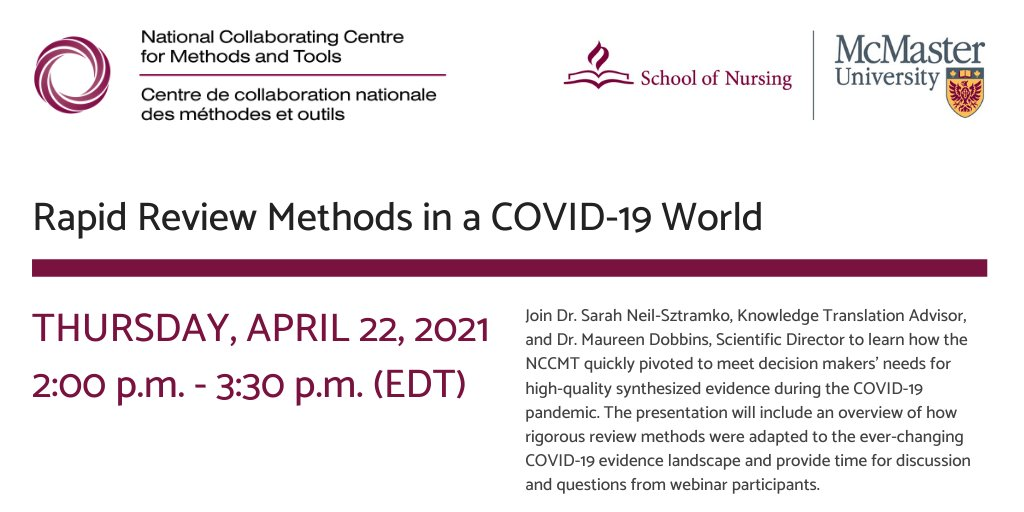 [NCCMT Webinar] Rapid Review Methods in a COVID-19 World