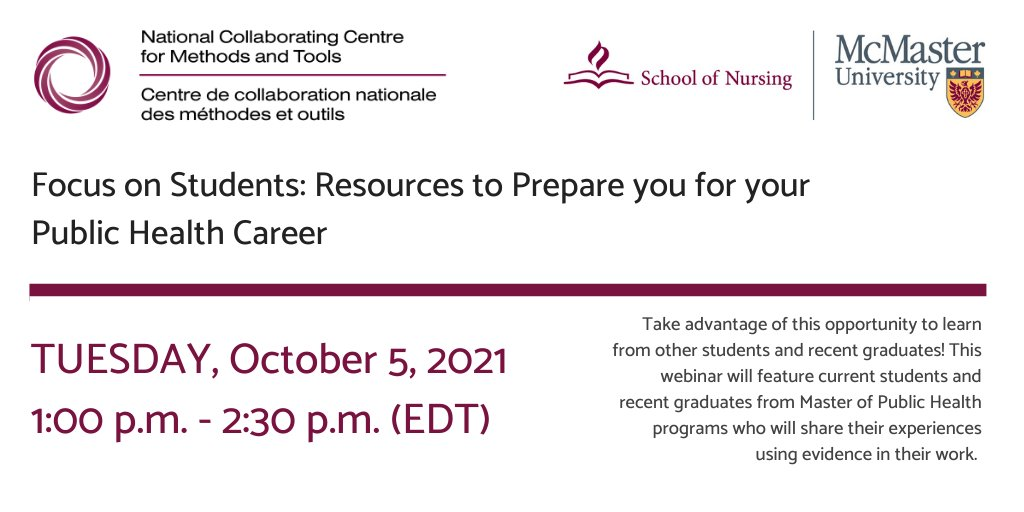 [NCCMT] Focus on Students: Resources to Prepare you for your Public Health Career