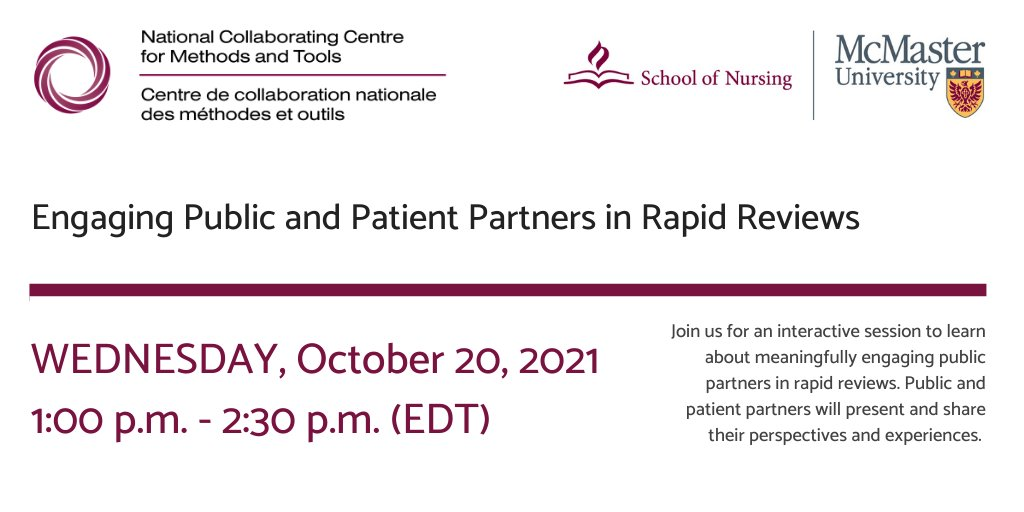[NCCMT] Engaging Public and Patient Partners in Rapid Reviews